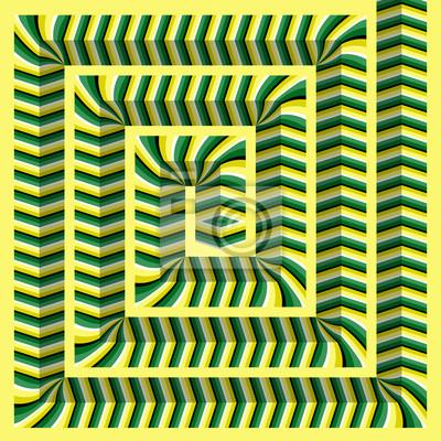 Facettierte rechteckige Spirale verdreht aus der Mitte. Abstract vector optische Täuschung Hintergrund.