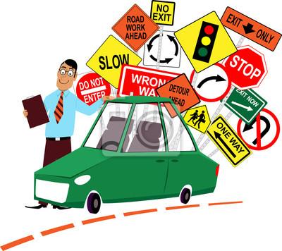 Bild Fahrschule Lehrer Stand Vor Einem Auto Sortierte Verkehrszeichen