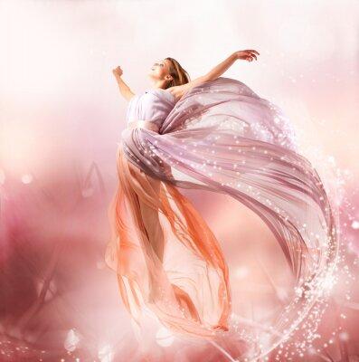 Bild Fairy. Beautiful Girl in Blowing Kleid Fliegen. Magie