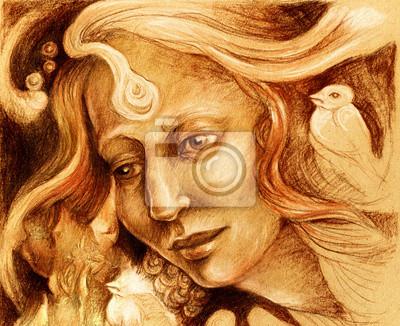 Fairy Frau Gesicht Zeichnung, sepia monochromatische Profilporträt