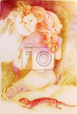 Fairy Frau Stricken von Sun Ray-Themen, detaillierte ornamental