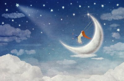 Bild Fairy Reiten auf einer Schaukel auf dem Mond in den Himmel