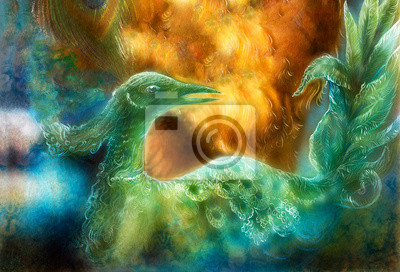 fairy Smaragdgrün Vogel Phönix, bunte Zier Fantasie