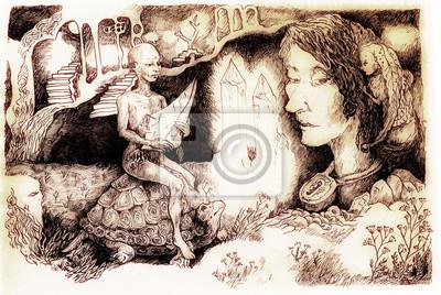 Fairy-tale illustration, crystal creature riding a tortoise