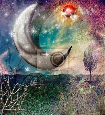 Fairytales Landschaft mit Mond und Sternen