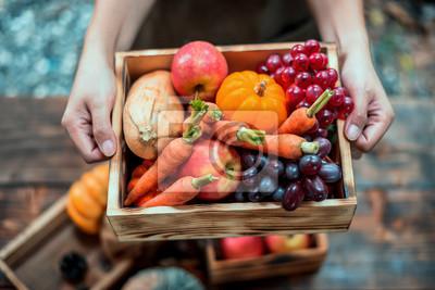 Bild Fall harvest cornucopia. Autumn season with fruit and vegetable. Thanksgiving day concept.