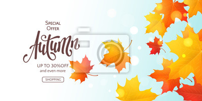 Bild Fall horizontal banner with 3D colored maple leaves and text Autumn. Vector background with realistic falling foliage, inscription and effect bokeh. Seasonal template for flyers with special offers.