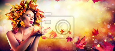 Fall Incoming - Model Woman Blowing Red Magic Leaves - Make a Wish