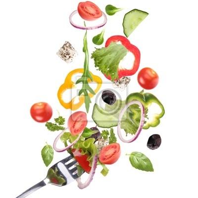 Fallende frischem Gemüse
