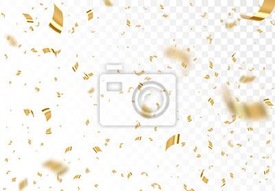 Bild Fallende glänzende goldene Konfettis lokalisiert auf transparentem Hintergrund. Helles festliches Lametta der Goldfarbe.