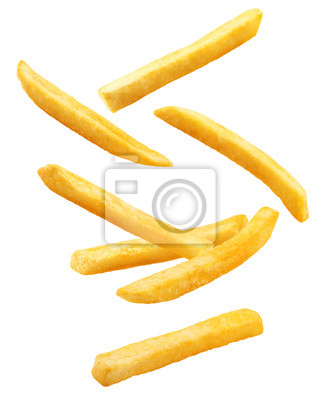 Bild Falling french fries, potato fry isolated on white background, clipping path, full depth of field