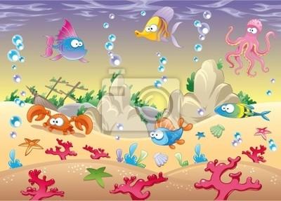 Familie von Meerestieren im Meer. Vektor-Illustration