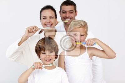 Familie Zähneputzen im Badezimmer