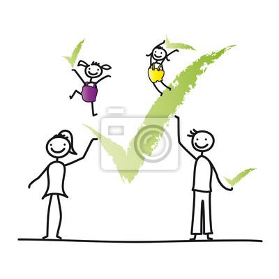 Familie - zustimmung leinwandbilder • bilder Strichmännchen ...