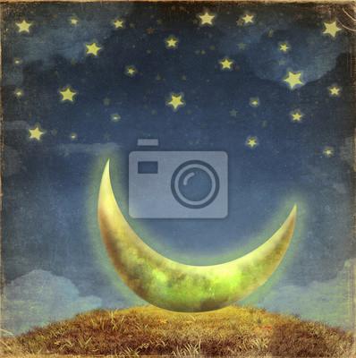Fantastische Mond und Sterne am Nachthimmel