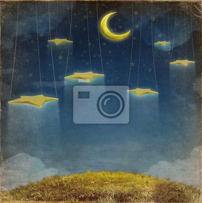 Fantastische Mond und Sterne am Seil am Nachthimmel