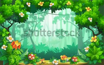 Bild Fantastischer Blumenwald, fabelhafter Dschungel, Tropen. Vektor Hintergrund.