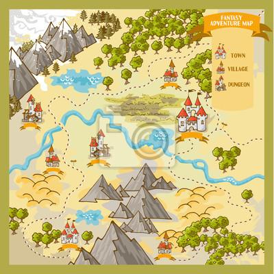 fantasy karte Fantasy advernture karte elemente mit bunten doodle hand zeichnen