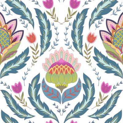 Bild Fantasy Blumen nahtlose Muster. Classic Ornament auf weißem Hintergrund