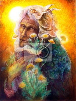 fantasy elven fairy man portrait with dandelion, colorful bright