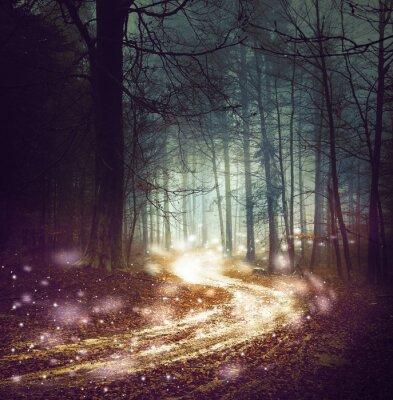 Fantasy Forststraße mit Glühwürmchen Lichter. Magic farbigen Wald Märchen. Dreamy nebligen Wald Baum mit kurvenreichen Straße Hintergrund.