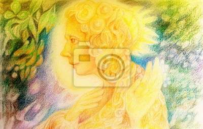 fantasy golden light fairy spirit with birds and floating leaf