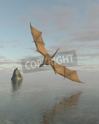 Bild Fantasy Illustration eines Drachen fliegen niedrig über einen ruhigen Ozean im Tageslicht, 3d digital gerenderten Darstellung