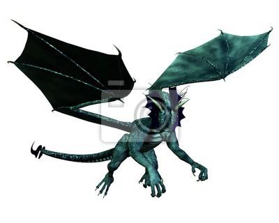 Fantasy illustration of a blue dragon in flight, 3d digitally rendered illustration