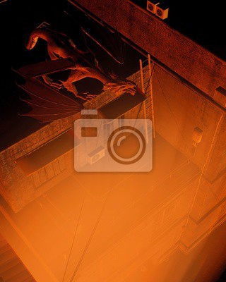 Fantasy illustration of a dragon keeping watch above the city streets at night with flame coloured lighting, 3d digitally rendered illustration