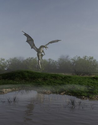 Fantasy illustration of a green marsh dragon hovering over a pool of calm water, 3d digitally rendered illustration