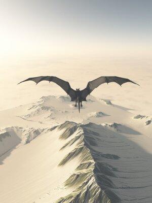 Bild Fantasy illustration of a grey dragon flying over a snow covered mountain range, 3d digitally rendered illustration