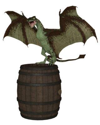 Fantasy illustration of a young green dragon landing on a wooden barrel, 3d digitally rendered illustration
