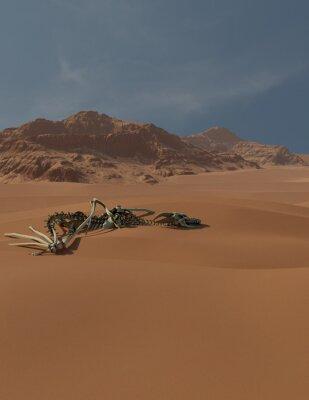 Fantasy illustration of the skeleton of an ancient dragon buried in desert sand dunes, 3d digitally rendered illustration