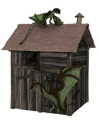 Fantasy illustration of three young green dragons playing on an abandoned wooden shack, 3d digitally rendered illustration