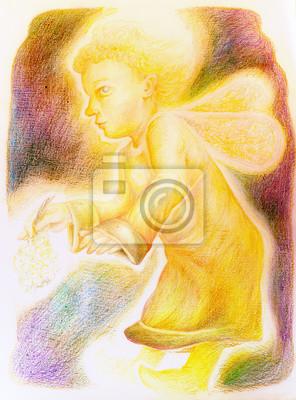 Fantasy kleine helle Fliegen-Engel mit Fee Flügel und einem Haufen