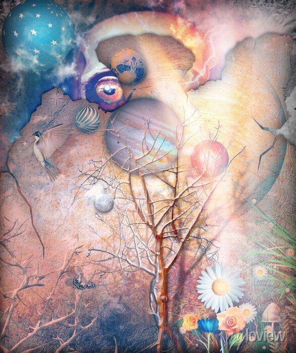 Bild Fantasy Landschaft mit verzauberten Baum