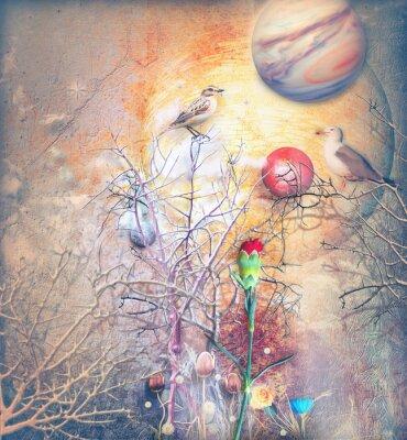 Fantasy-Landschaft mit verzauberten Baum, Vögel und rote Nelke