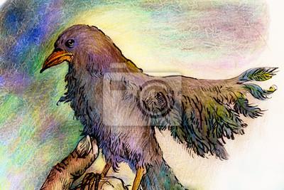 Fantasy park bird detailed colorful ornamental drawing, profile