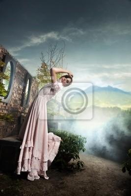 Fantasy-Stil Foto einer jungen Brünette Schönheit