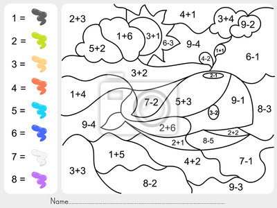 Exelent Farbe Durch Mathe Arbeitsblatt Picture Collection ...