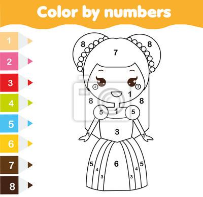 Farbe durch zahlen pädagogische kinder spiel. malvorlage für ...