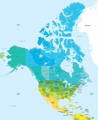 Bild Farbe Karte der USA und Kanada