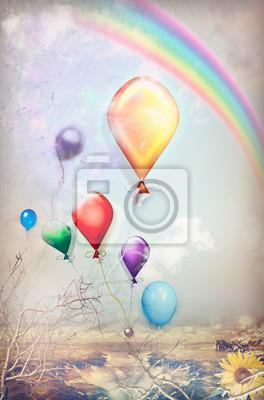 Farbige Luftballons in den Himmel