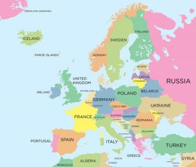 Bild Farbige politische Landkarte Europas