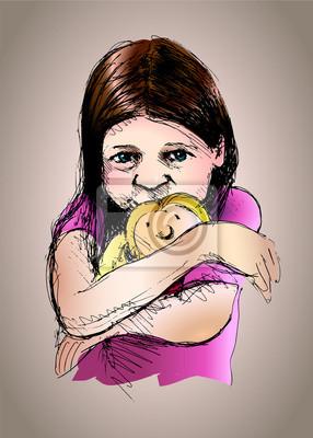 Farbige Vektor-Illustration von einem kleinen Mädchen mit einer Puppe