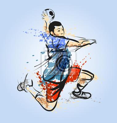 Farbige Vektor-Linie Skizze eines Handballspielers