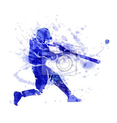 Farbige Vektor-Silhouette eines Baseball-Spieler