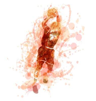 Farbige Vektor-Silhouette eines Basketball-Spieler. Abbildung