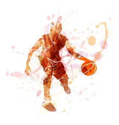Farbige Vektor-Silhouette von Basketball-Spieler mit Ball