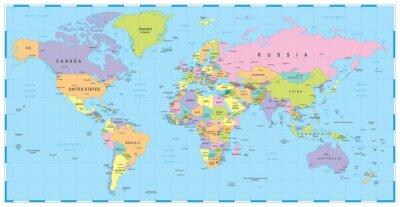 Farbige Welt Karte Grenzen Lander Und Stadte Abbildung Sehr